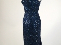 1950's Cocktail Dress, deep blue lace wsequin trim fishtail back - side view.jpg