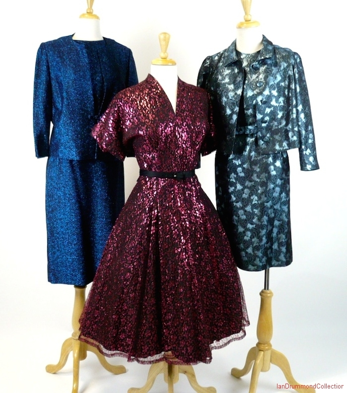 Trio of Metallic mid-century dresses