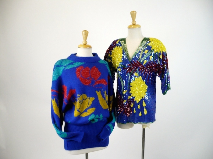 Two 1980's tops - Floral pattern sweater, lg b38 Beaded & sequin top with big yellow flowers b3436 $135.JPG