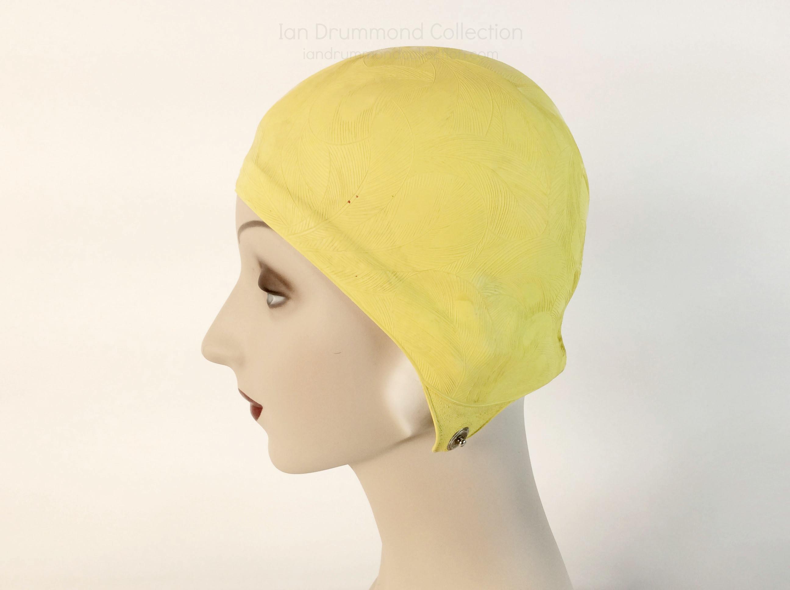 IDC Movie Wardrobe Rental Swim Cap 13 Yellow with Embossed Leaf Design