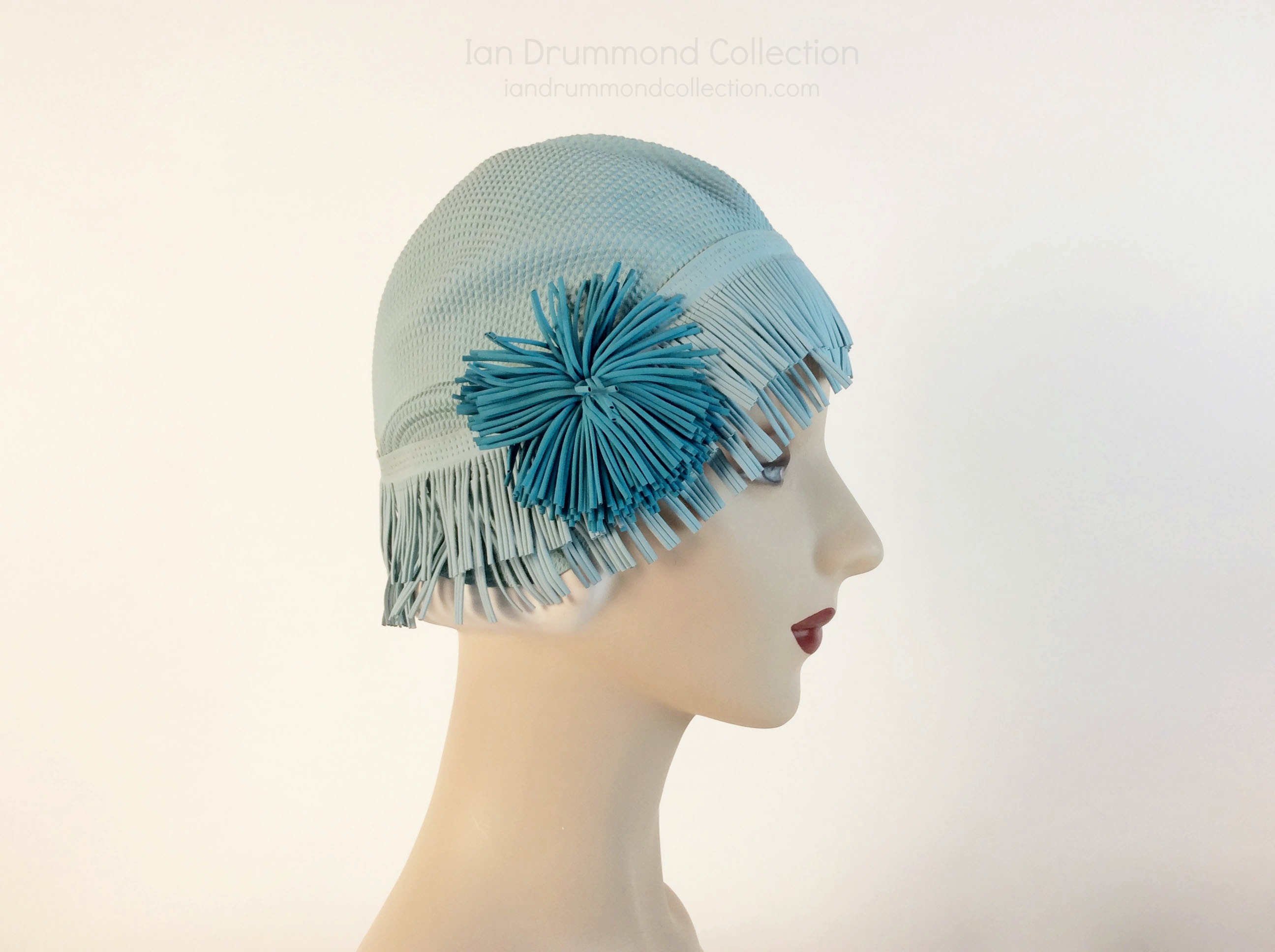 IDC Movie Wardrobe Rental Swim Cap 17 Blue with Blue Flower and Fringe