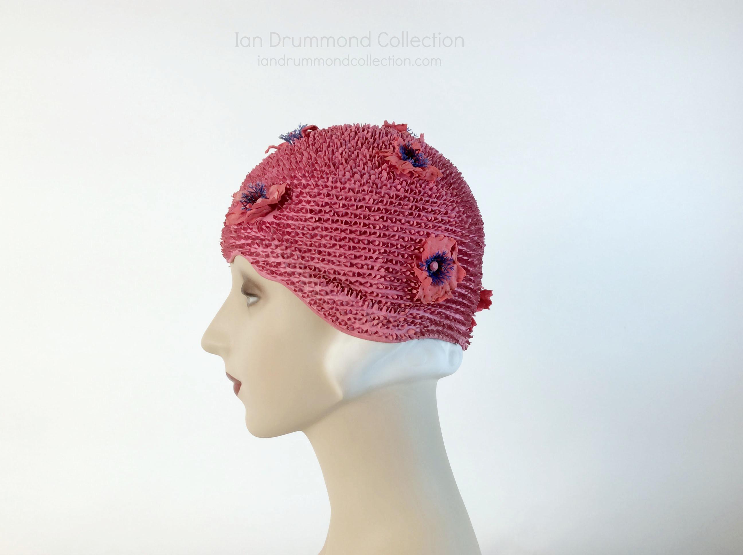 IDC Movie Wardrobe Rental Swim Cap 25 Pink with Small Bristles and Raised Flowers Deisgn