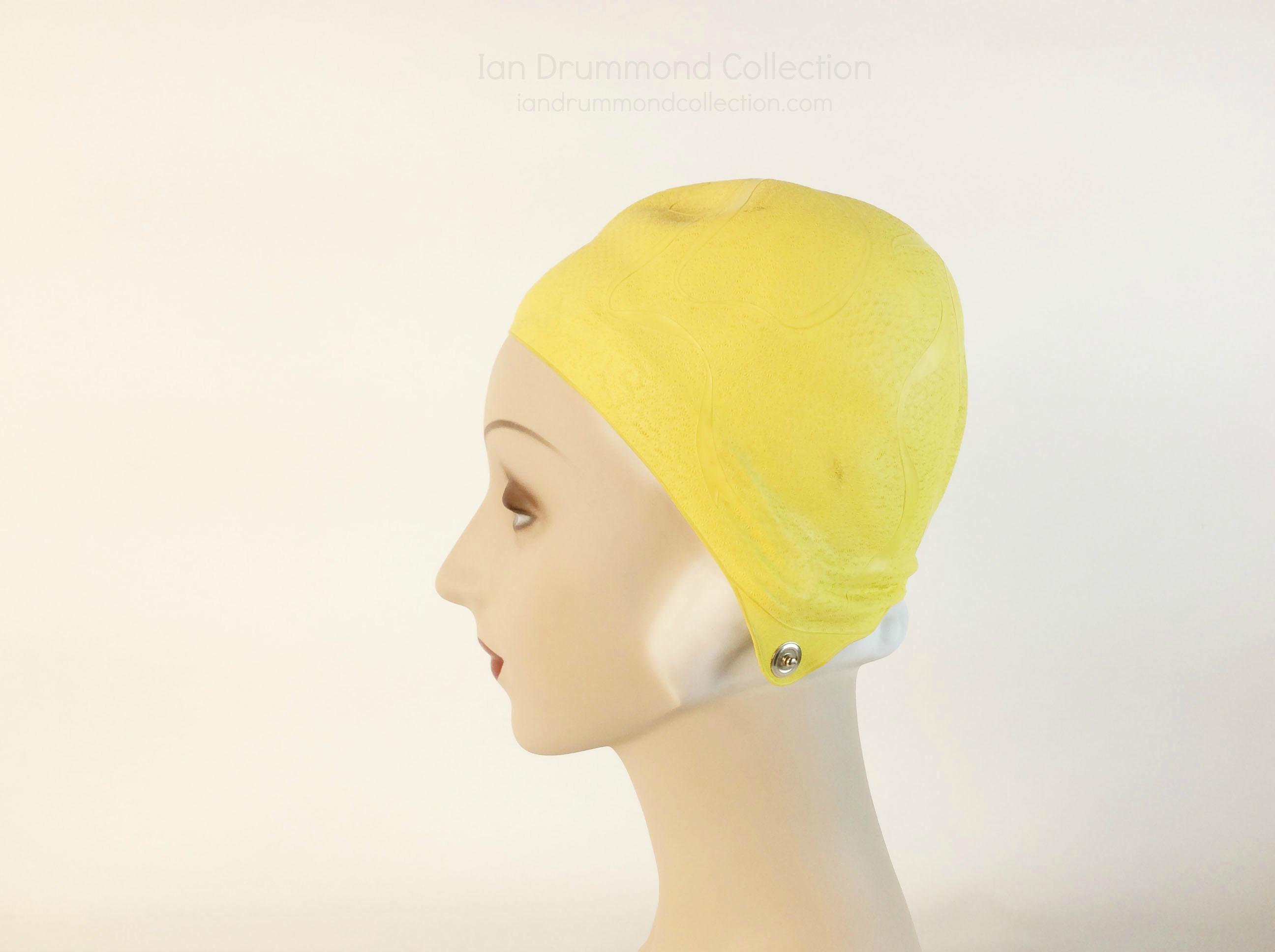 IDC Movie Wardrobe Rental Swim Cap 4 Yellow with Embossed Designs