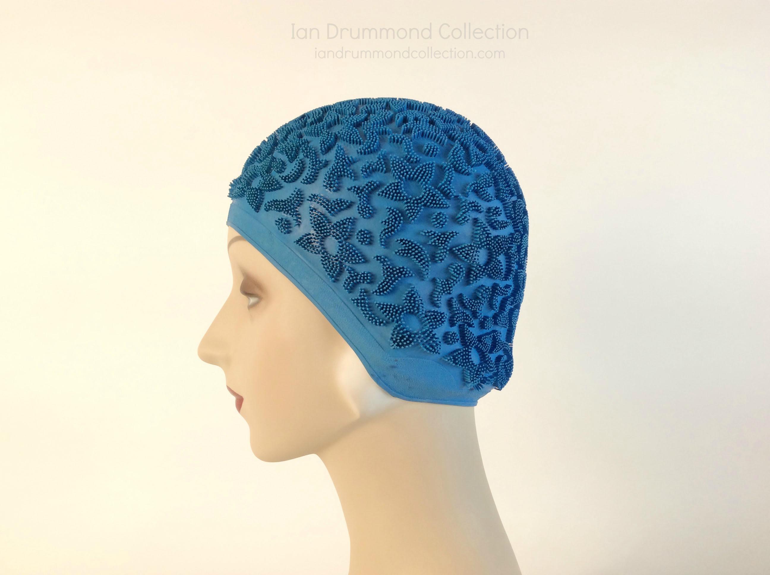 IDC Movie Wardrobe Rental Swim Cap 6 Royal Blue with Raised Flower Designs