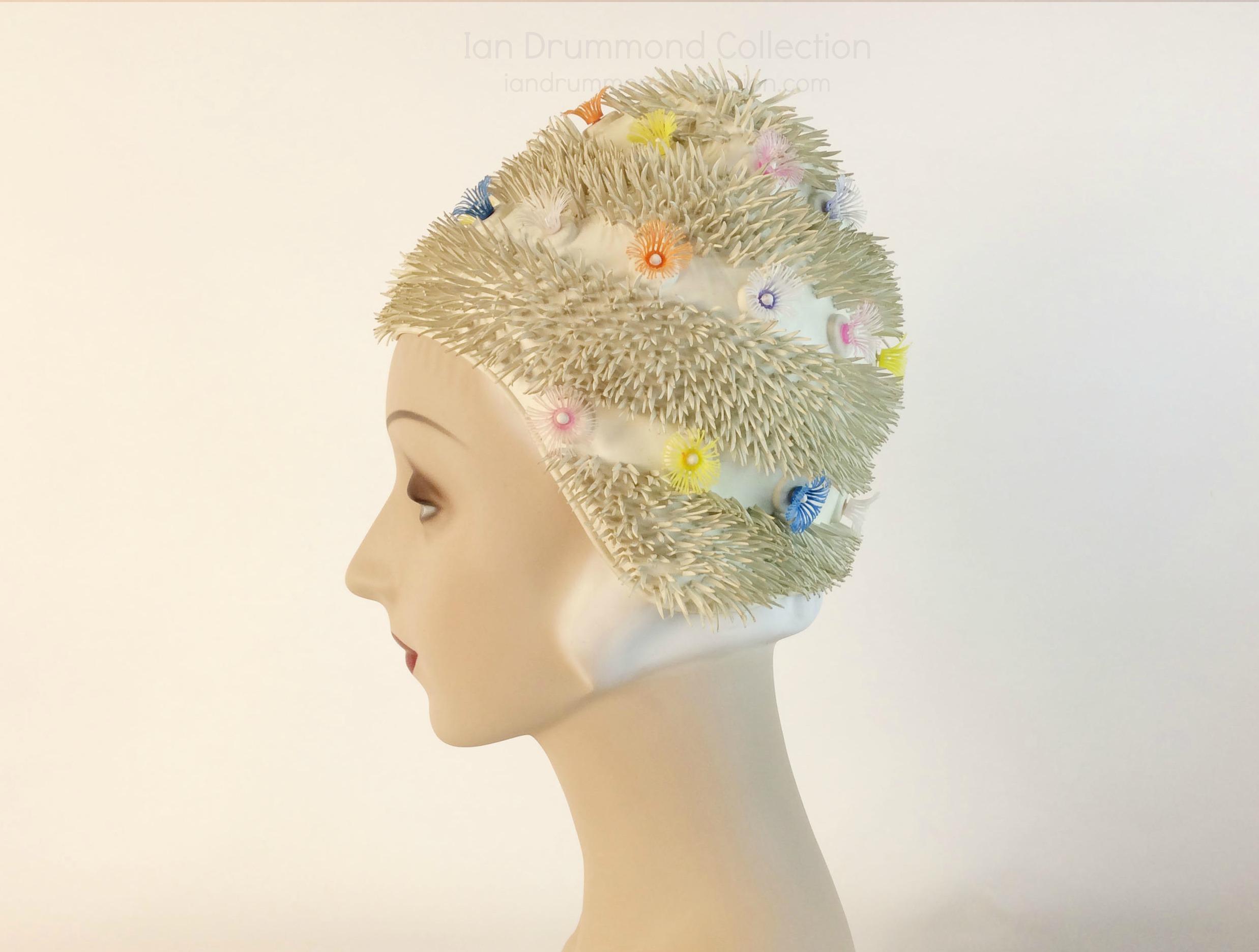 IDC Movie Wardrobe Rental Swim Cap 7 Cream with Spikes and Multicolour Flowers