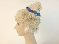 IDC Movie Wardrobe Rental Swim Cap 11 Cream Fringed Haystack with Red and Blue Trim