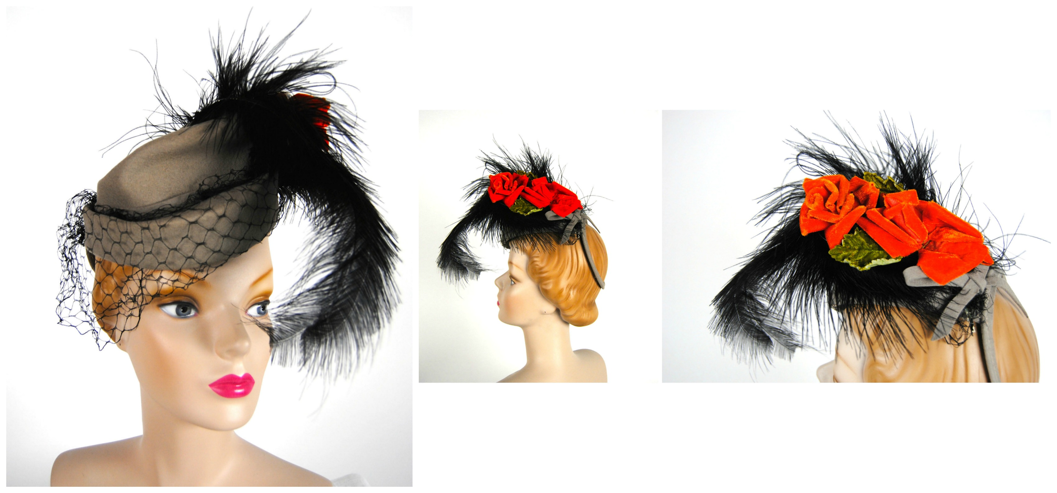 Ian Drummond Collection IDC Toronto Wardrobe Rentals Womens 40s Gray Black Feather Orange Rose Hat