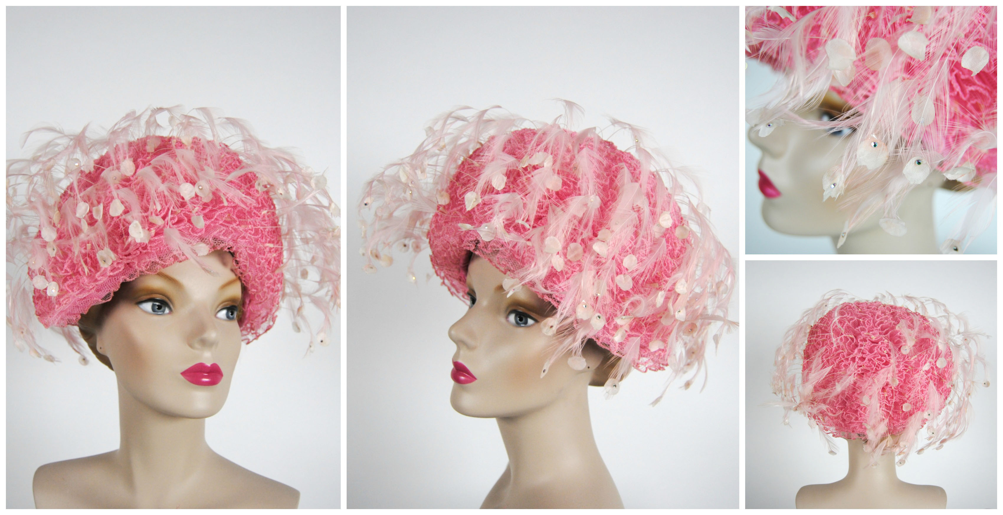 Ian Drummond Collection IDC Toronto Wardrobe Rentals Womens 60s Hat Pink ruffles and feathers
