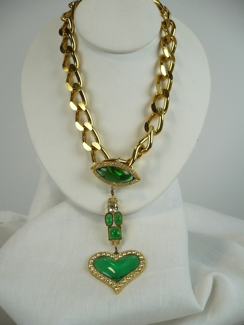 Butler & Wilson Gold Green Heart Necklace.jpg