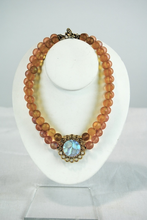 Reminiscence Rose and Citrine Glass Bead Necklace with Opalescent centrepiece.jpg