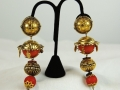 Reminiscence Earrings, Gold and coral drops.jpg