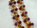 Reminiscence Earrings, Red cabochon with purple, amber, red and pearl bead drops.jpg