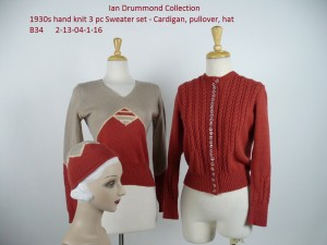 Ian Drummond Collection 1930s Sweater Set with Hat