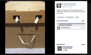 Ian Drummond Collection's Facebook Post about shipping an E-Crate