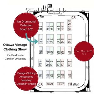 Floor Map of Ian Drummond Location at the Spring Ottawa Vintage Clothing Show 2017