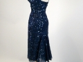 1950's Cocktail Dress, deep blue lace wsequin trim fishtail back - three-quarter view showing flare.jpg