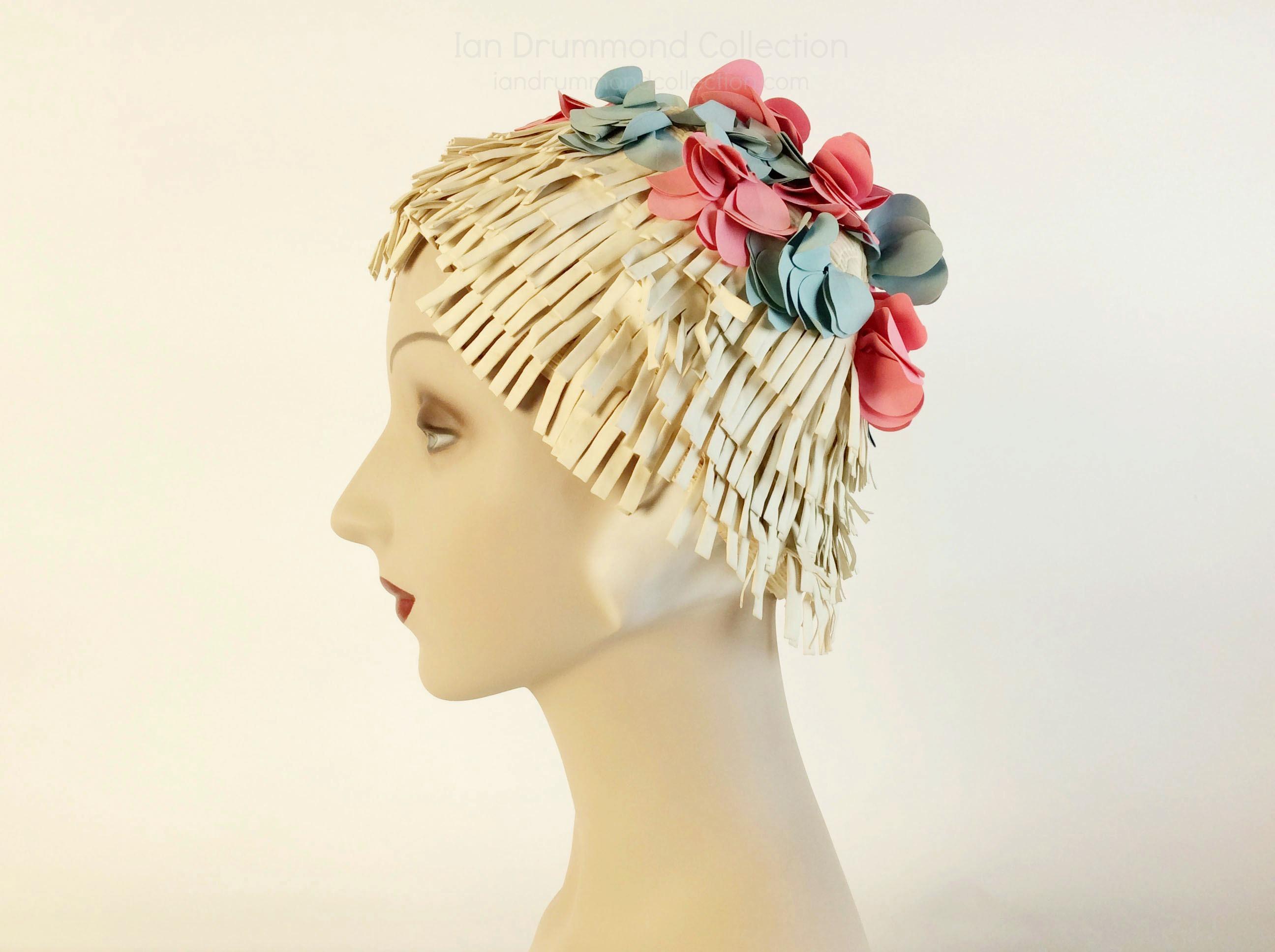 IDC Movie Wardrobe Rental Swim Cap 1 Cream with Pink and Blue Flowers