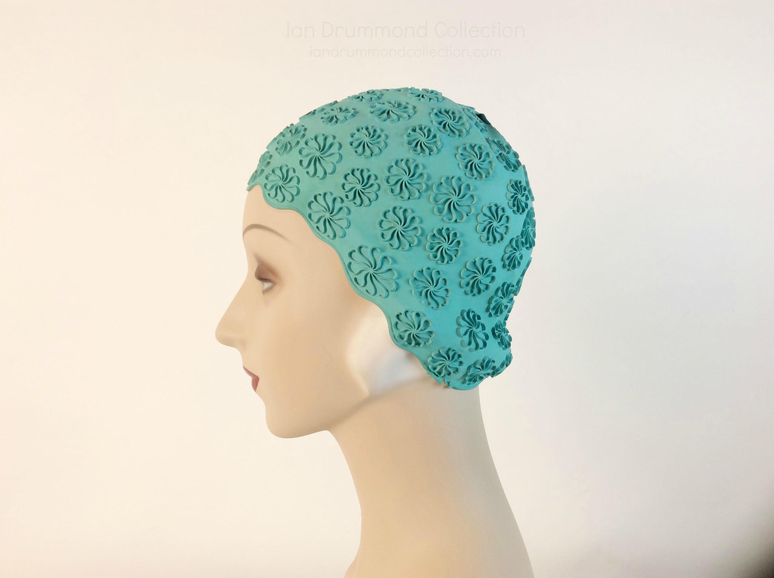 IDC Movie Wardrobe Rental Swim Cap 10 Turquoise with Swirled Raised Flowers