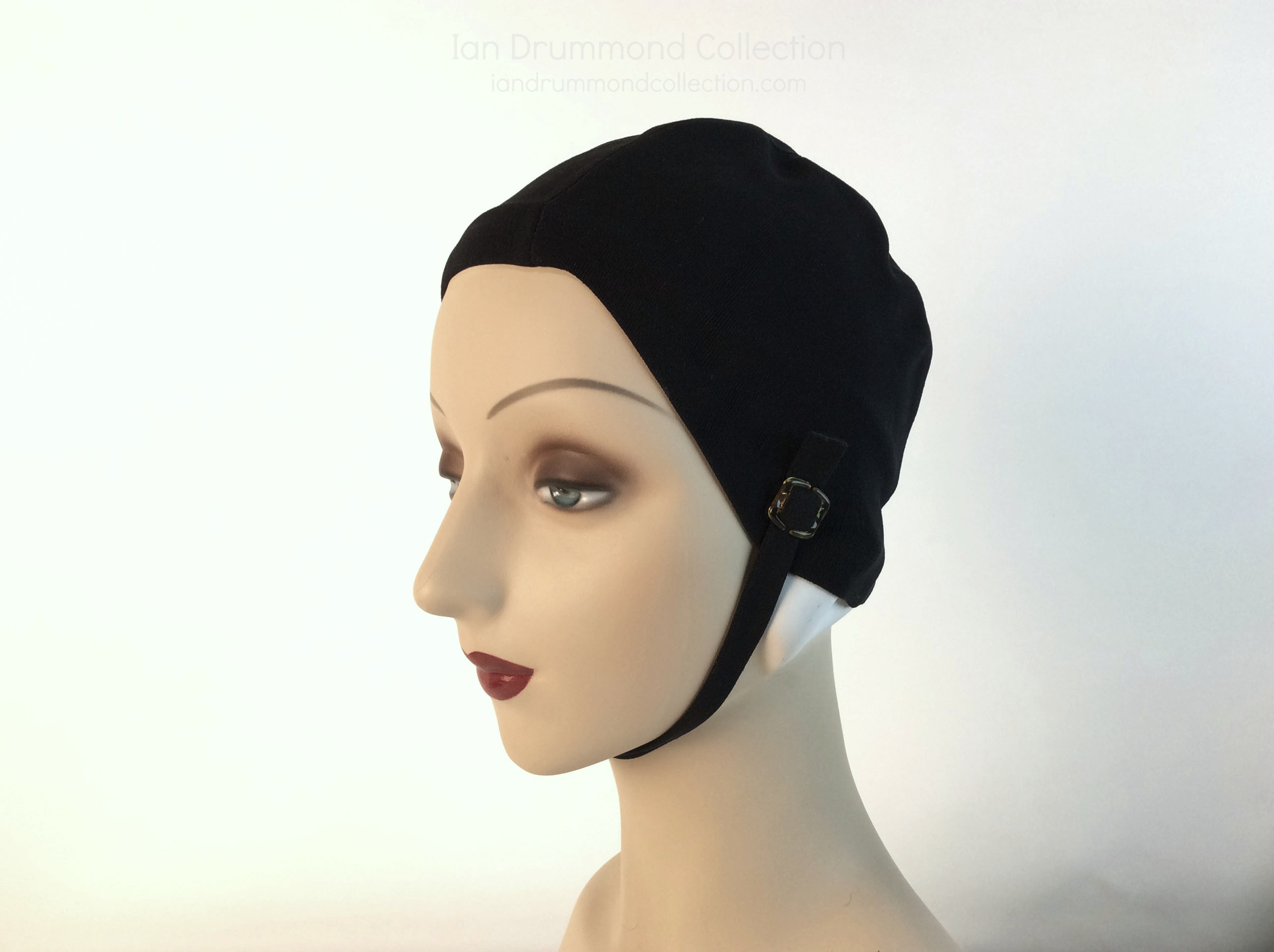 IDC Movie Wardrobe Rental Swim Cap 12 Black Fitted Nylon Simple Cap with Chin Strap