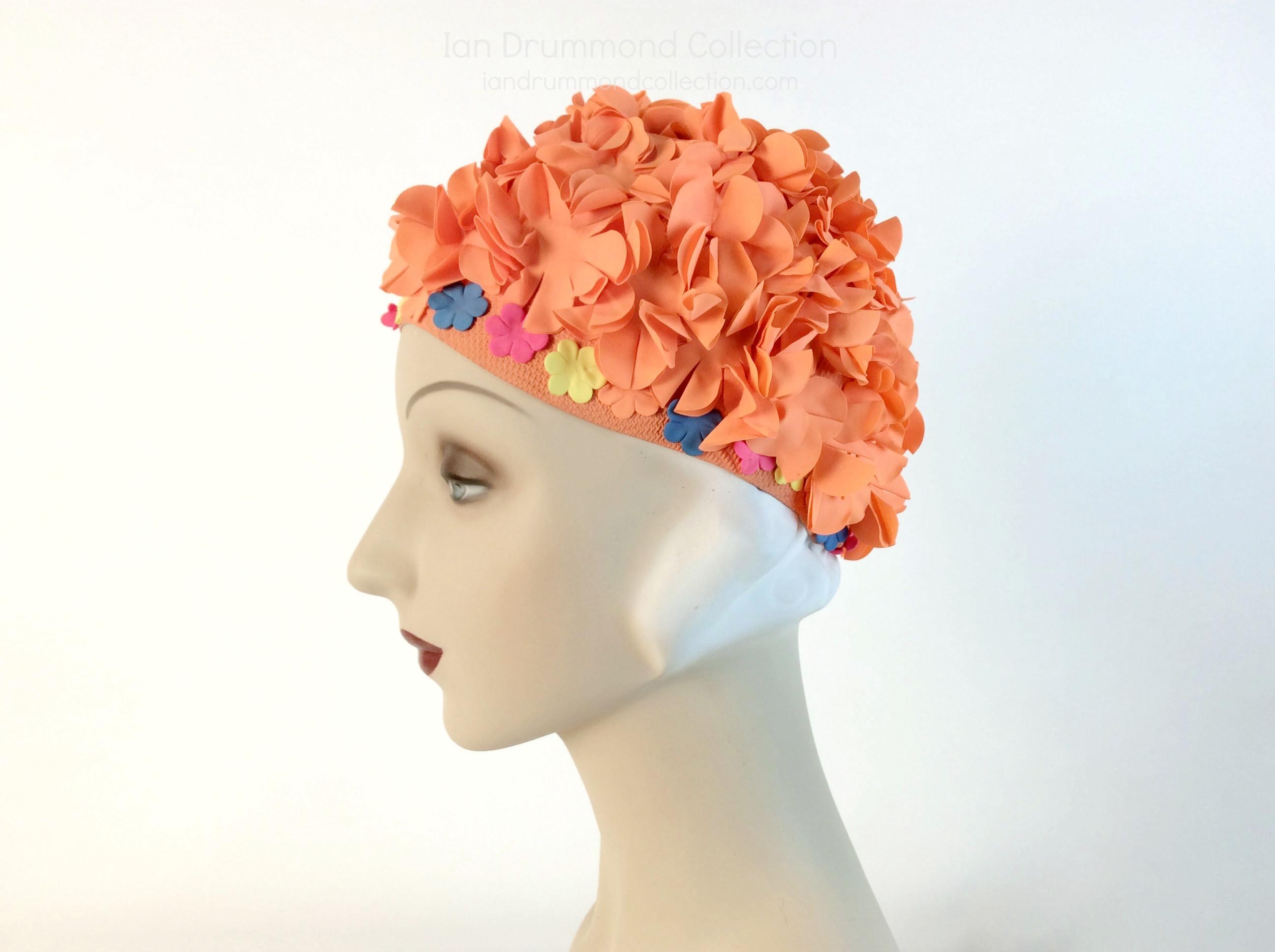 IDC Movie Wardrobe Rental Swim Cap 14 Neon Orange with Floppy Flowers and Multicloured Flowers