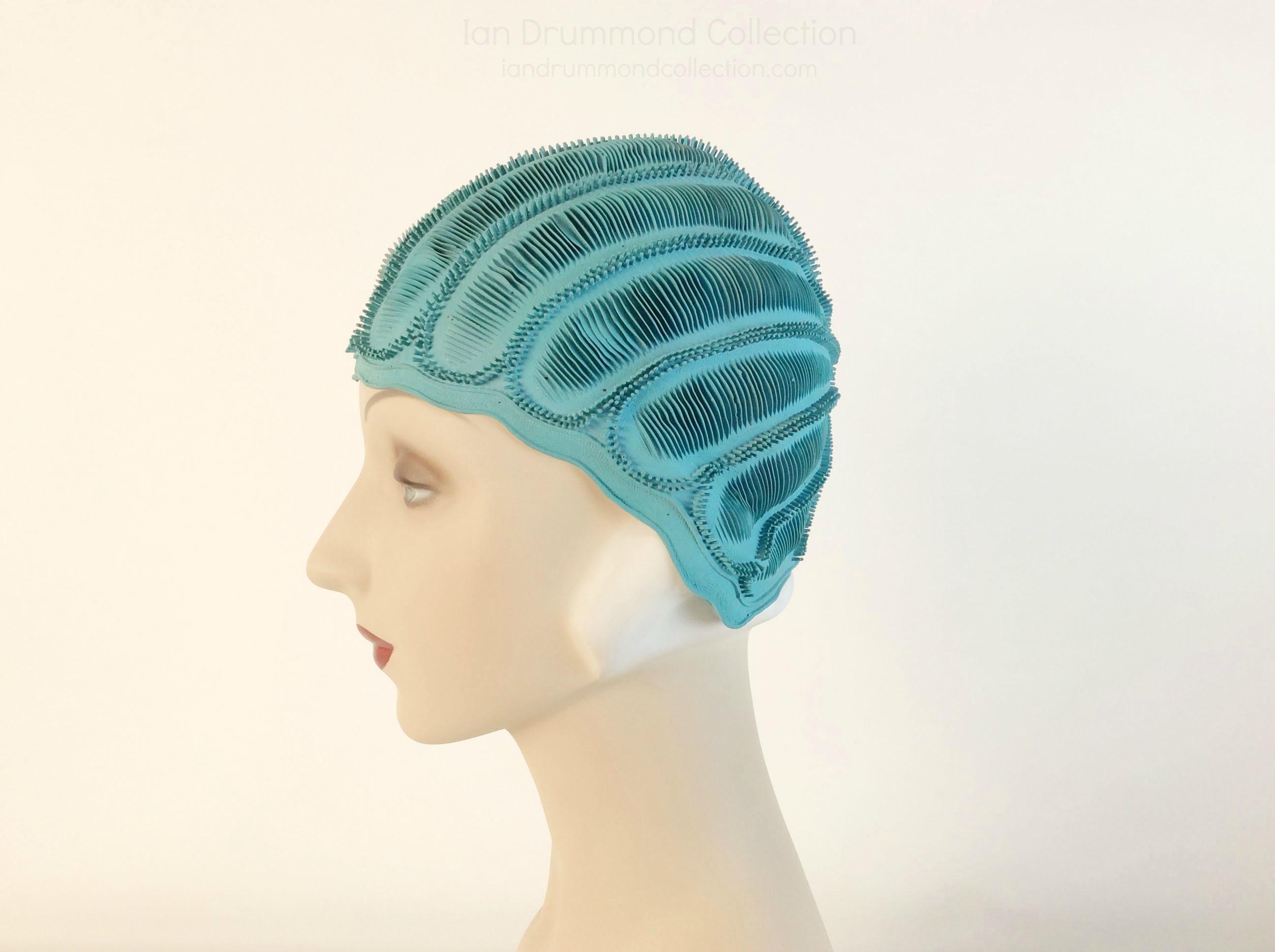 IDC Movie Wardrobe Rental Swim Cap 2 Turquoise with Scallops and Ridges