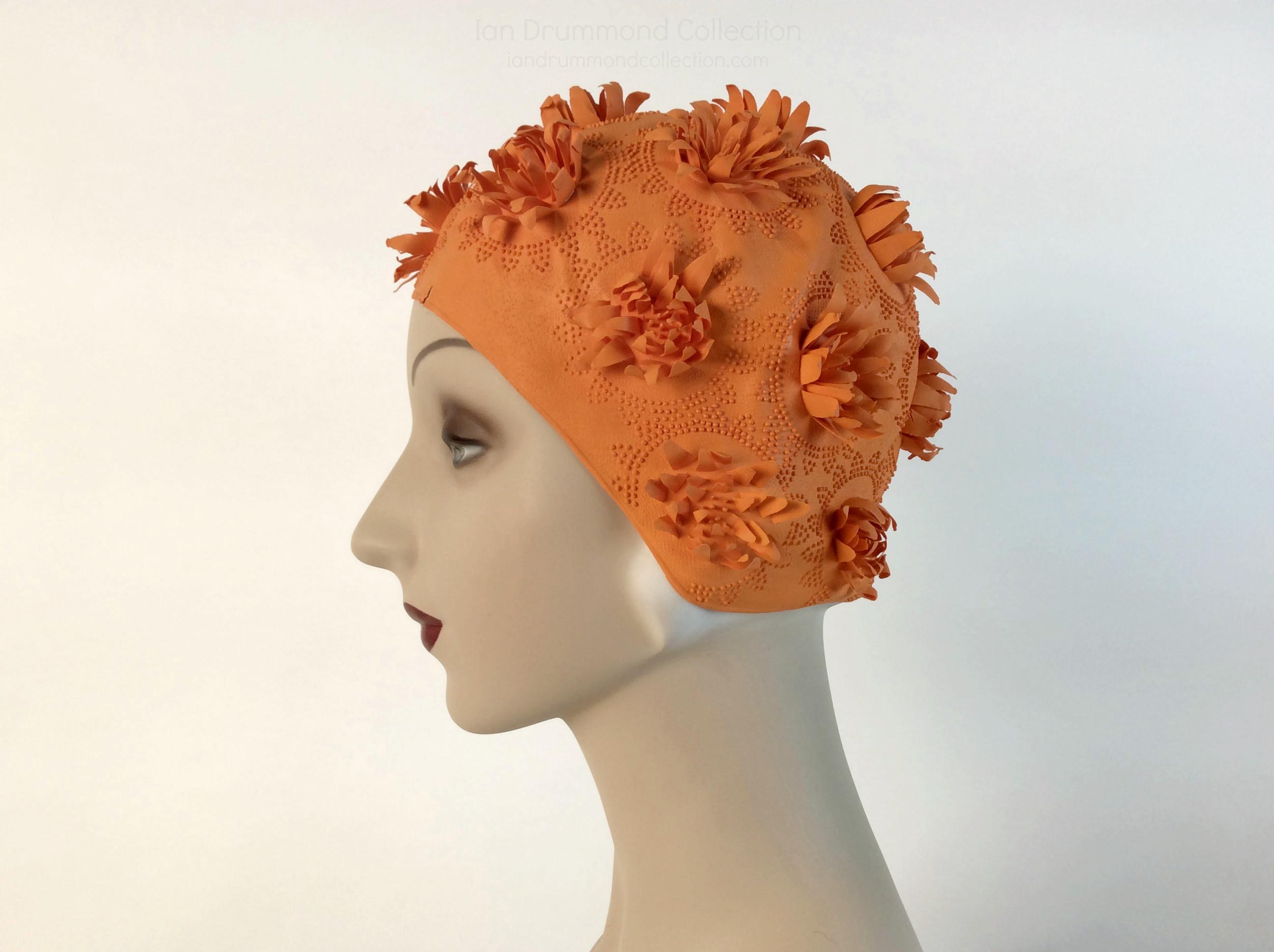 IDC Movie Wardrobe Rental Swim Cap 20 Bright Orane with Raised Petal and Dot Flower Designs