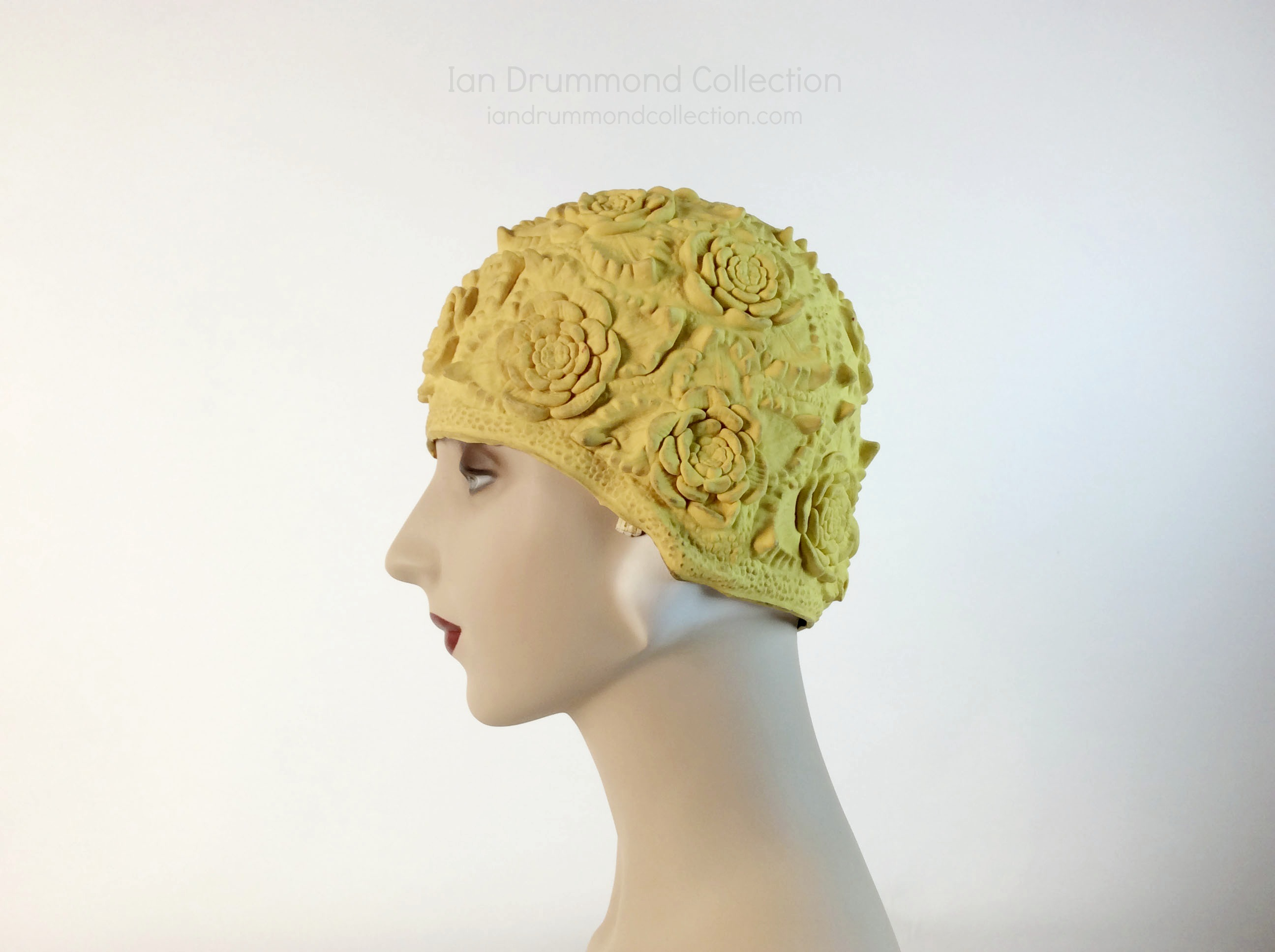 IDC Movie Wardrobe Rental Swim Cap 22 Yellow with Quilted Design and Raised Flowers