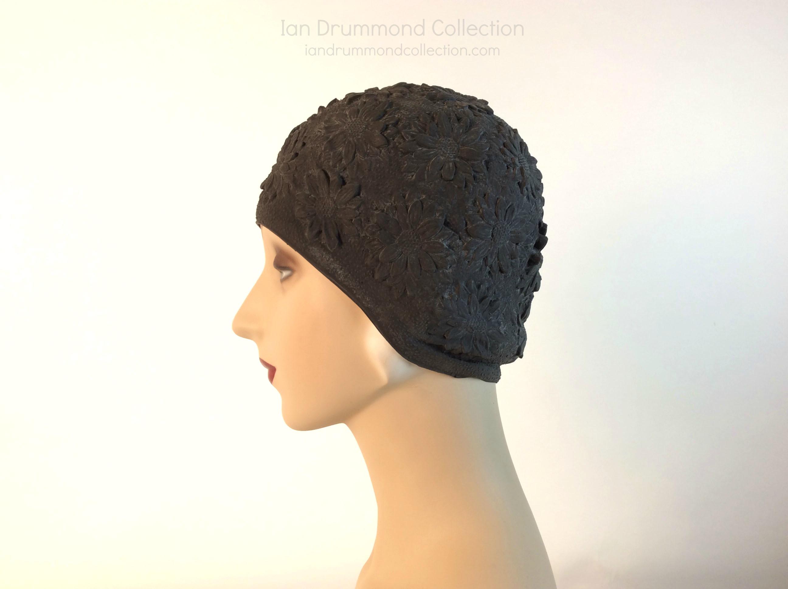 IDC Movie Wardrobe Rental Swim Cap 24 Black With Quilted Flower Design