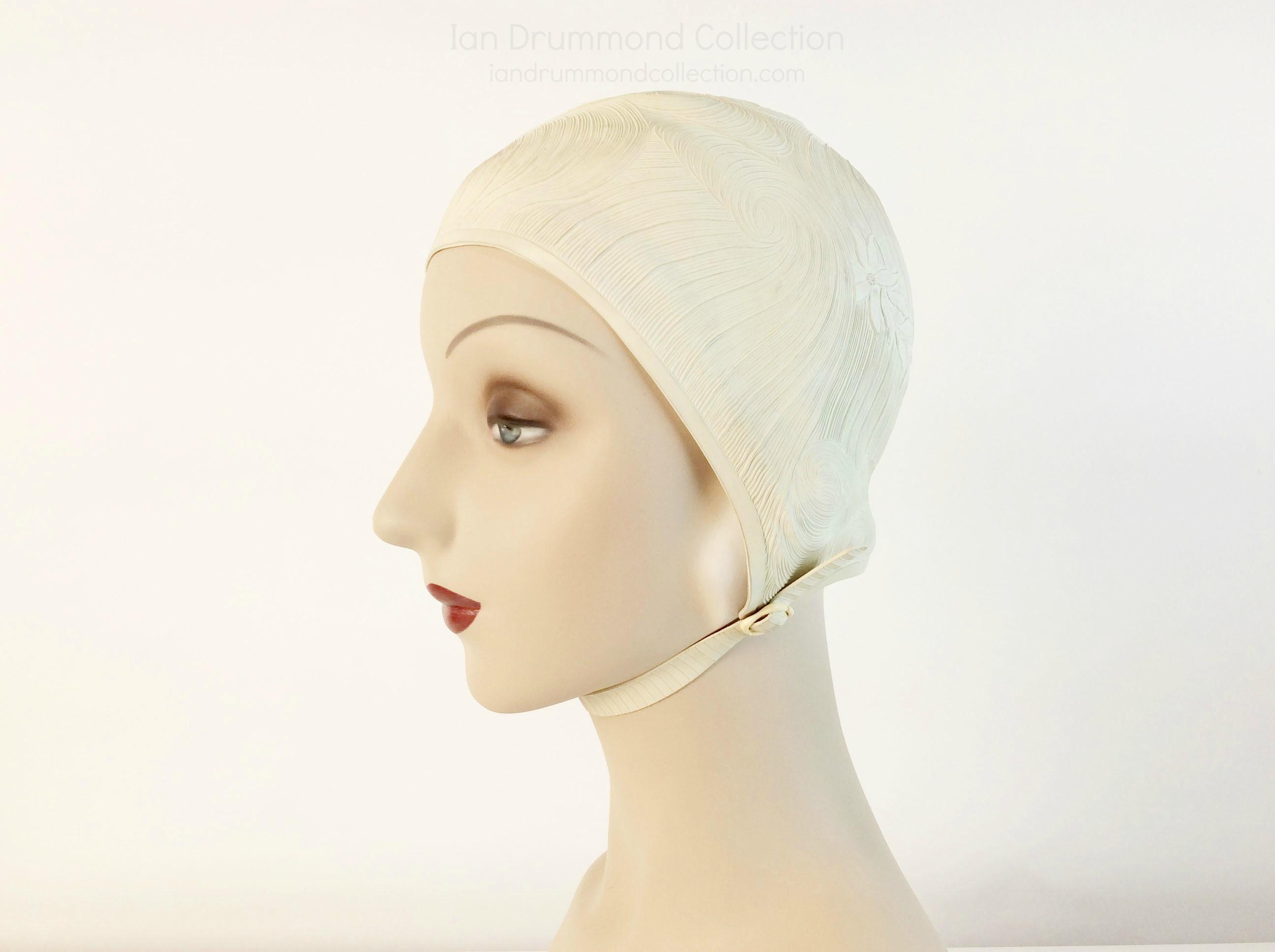 IDC Movie Wardrobe Rental Swim Cap 5 Cream with Wave and Flower Designs