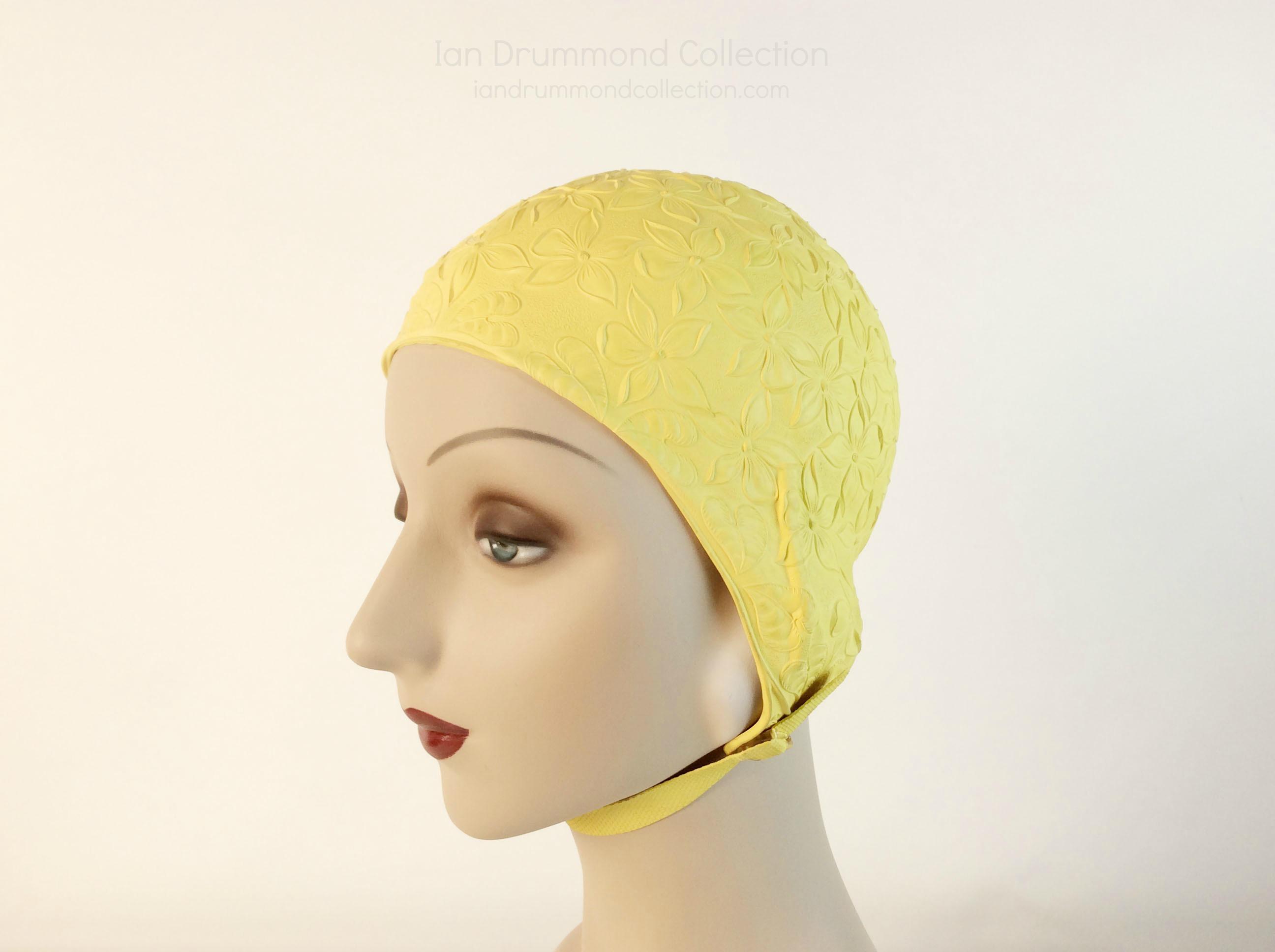 IDC Movie Wardrobe Rental Swim Cap 8 Yellow with Embossed Floer Designs