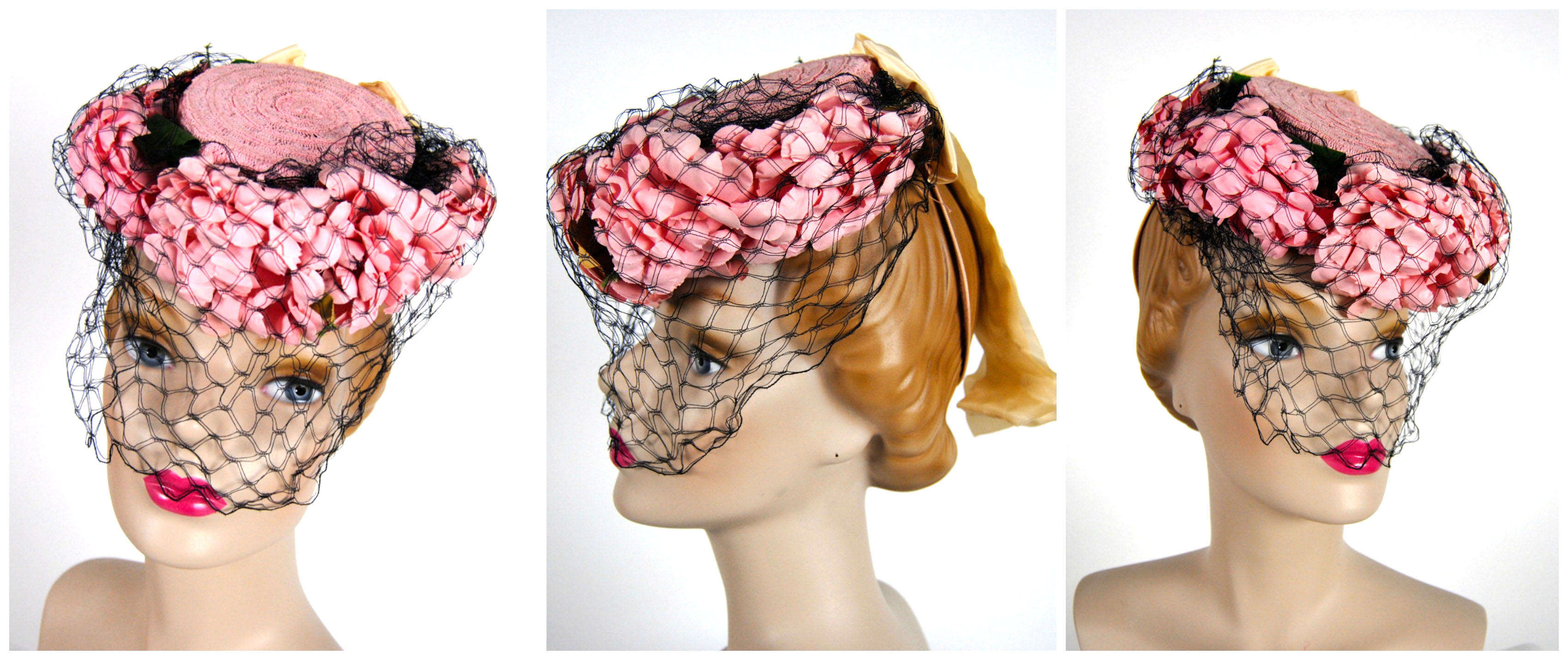 Ian Drummond Collection IDC Toronto Wardrobe Rentals Womens 40s Hat Pink wiht flowers net