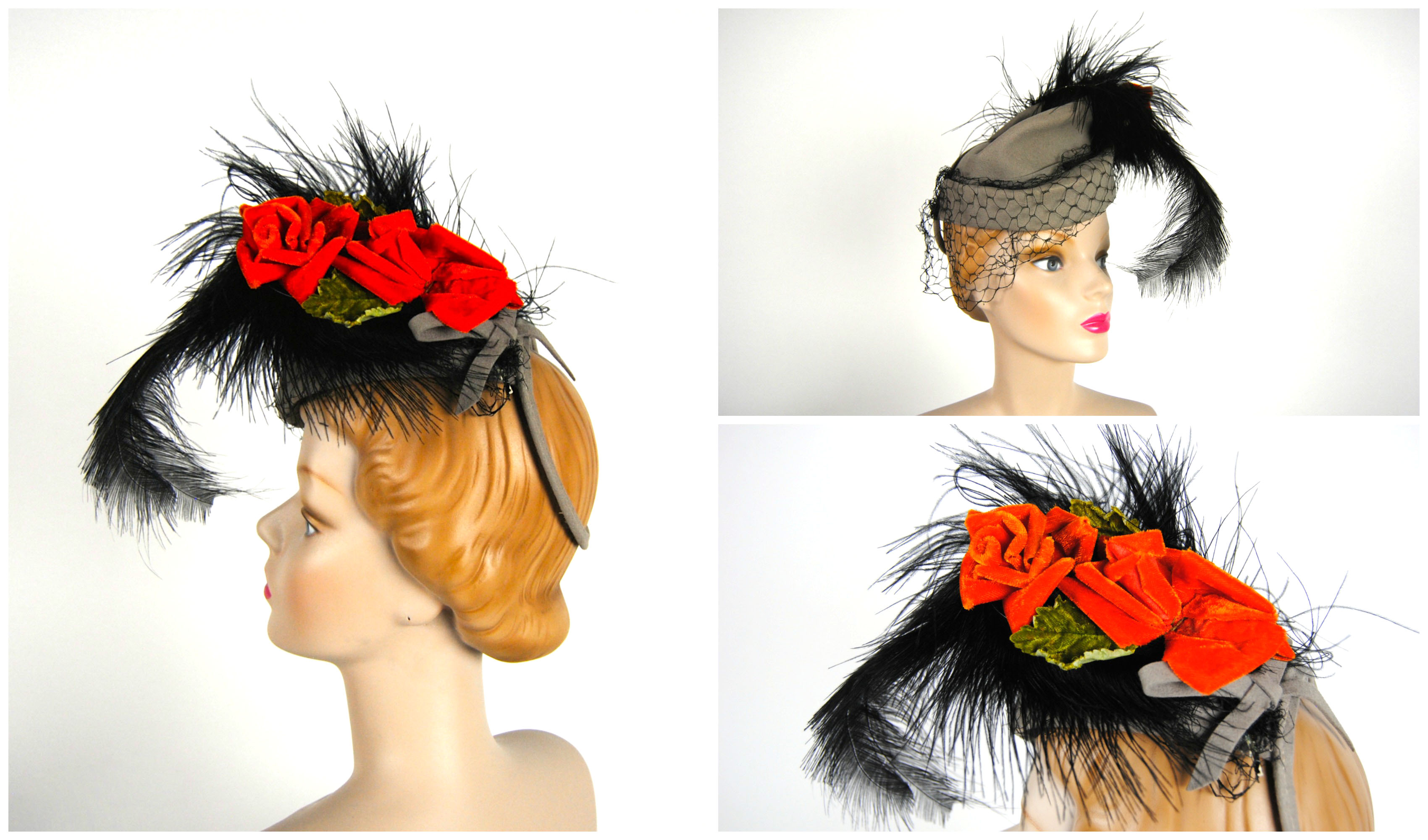 Ian Drummond Collection IDC Toronto Wardrobe Rentals Womens 40s Hat gray black feather orange roses