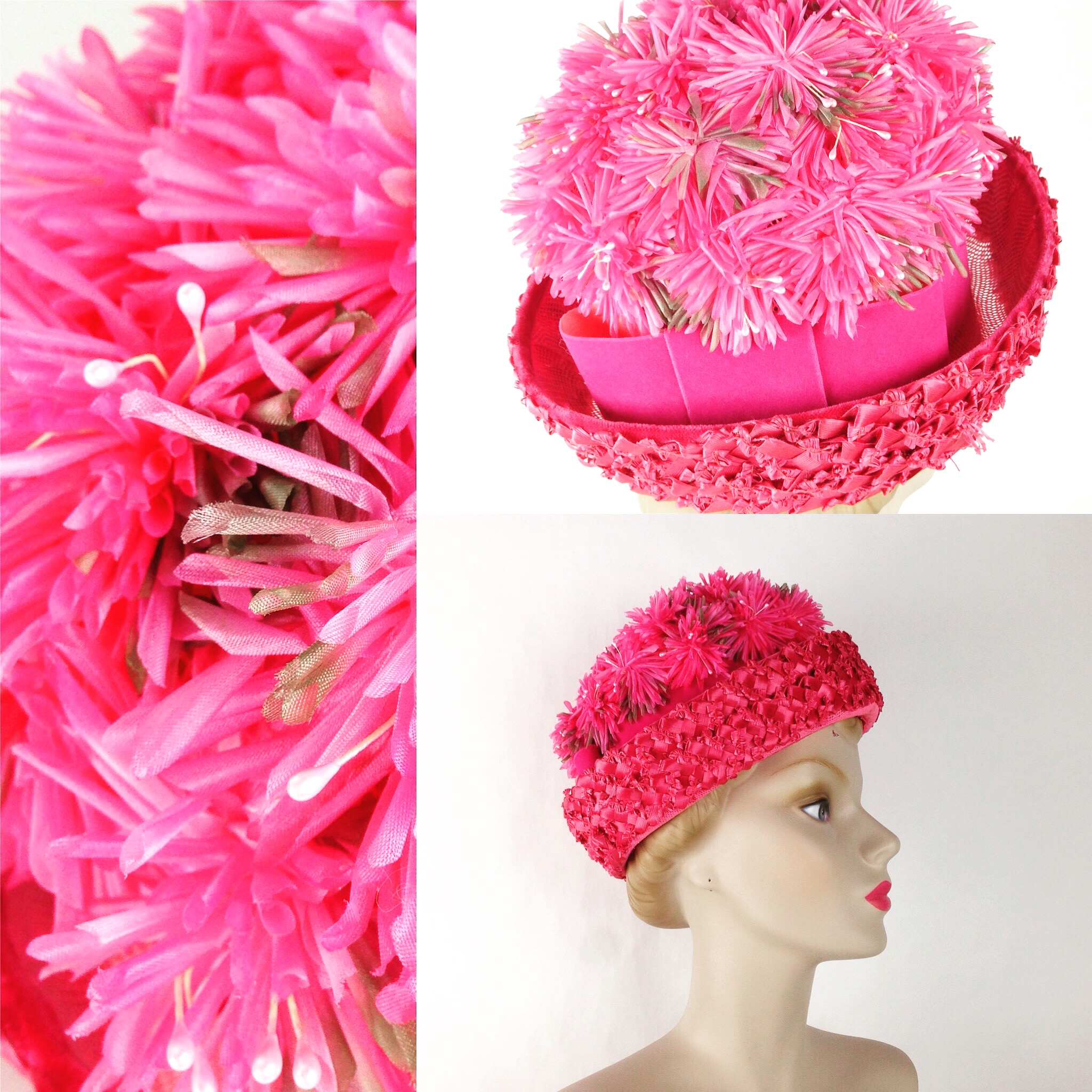 Ian Drummond Collection IDC Toronto Wardrobe Rentals Womens 60s pink straw and flower Hat