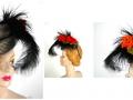 Ian Drummond Collection IDC Toronto Wardrobe Rentals Womens 40s Gray Black Feather Orange Rose Hat