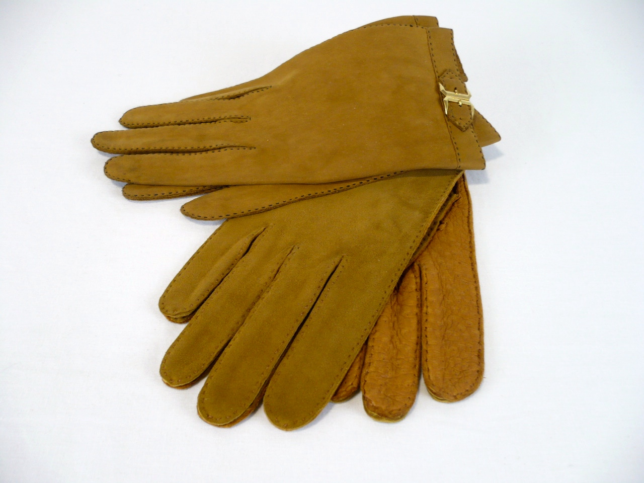 Two pairs of elegant suede and leather gloves .JPG