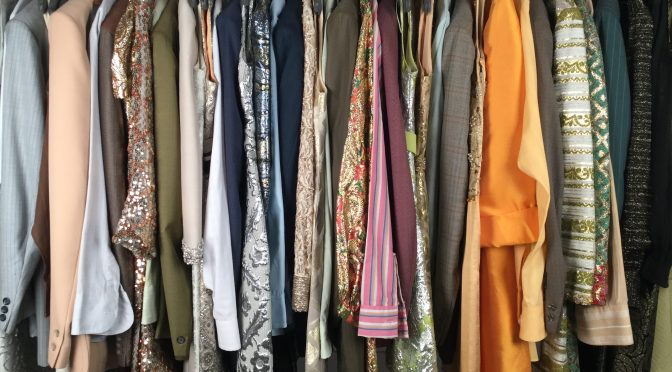 A rack of clothing pulled for a production - picture early 1970s Las Vegas